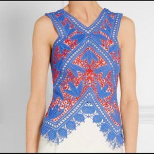 TORY BURCH blue and coral red Evie crochet top